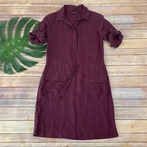 J. Jill dark purple roll tab sleeve shirt dress